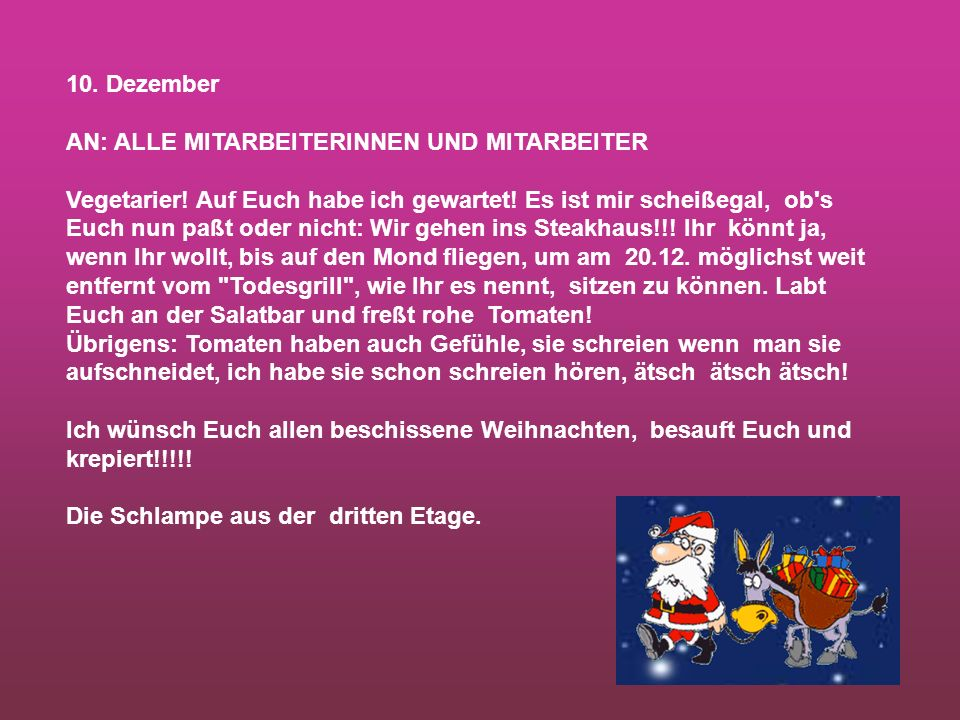 10. Dezember AN: ALLE MITARBEITERINNEN UND MITARBEITER.