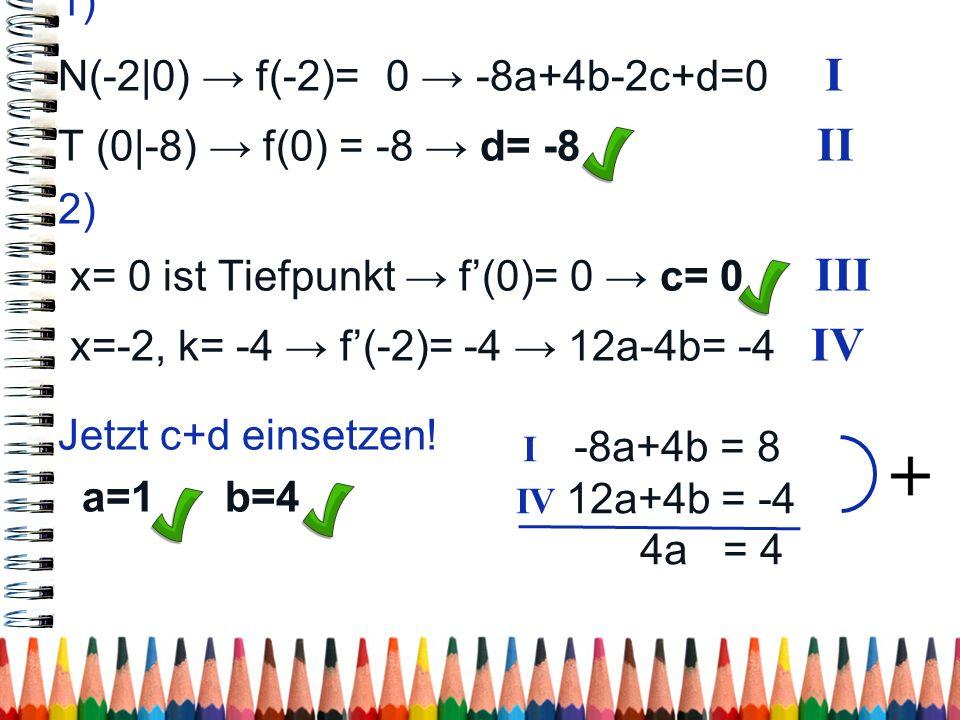 N(-2|0) → f(-2)= 0 → -8a+4b-2c+d=0 I T (0|-8) → f(0) = -8 → d= -8 II