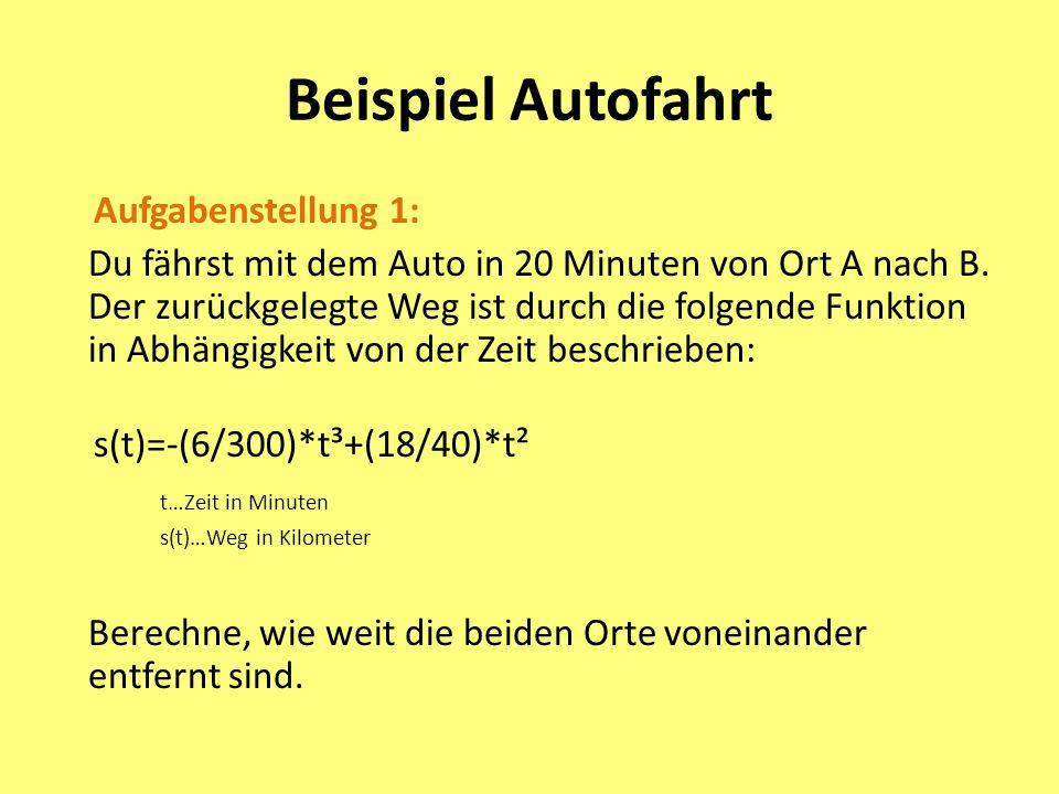 Beispiel Autofahrt Aufgabenstellung 1: