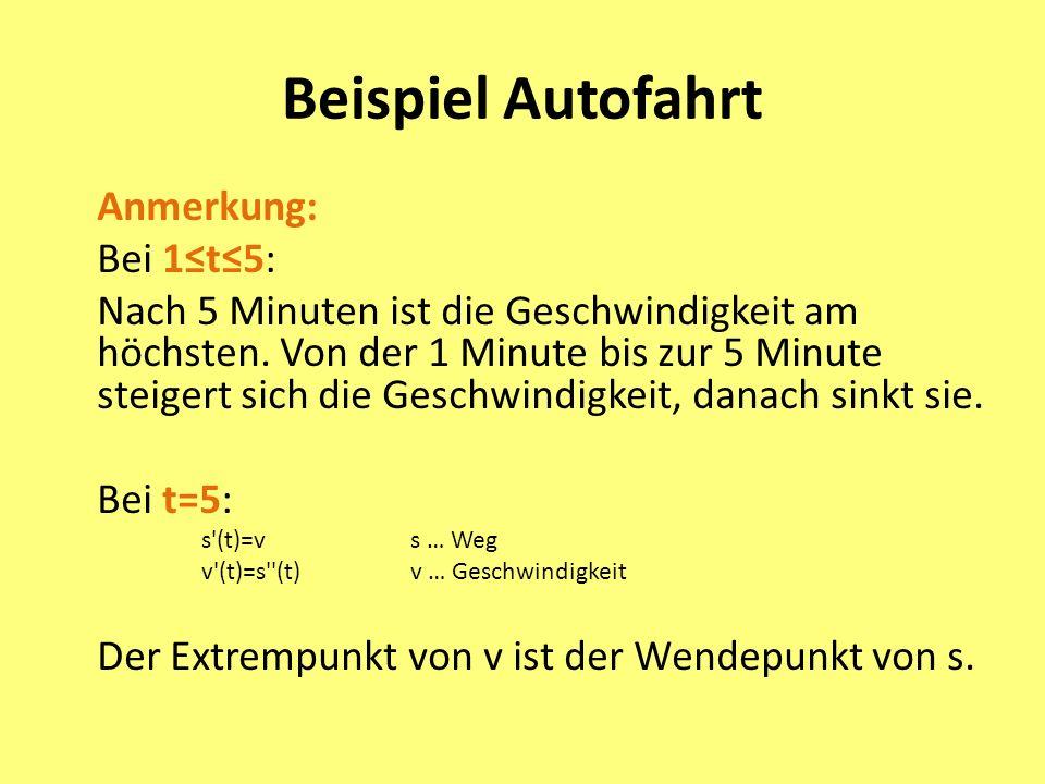 Beispiel Autofahrt Anmerkung: Bei 1≤t≤5: