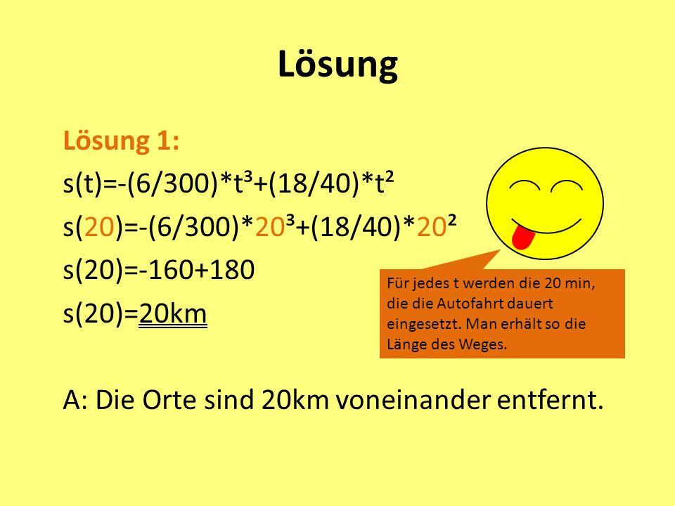 Lösung Lösung 1: s(t)=-(6/300)*t³+(18/40)*t² s(20)=-(6/300)*20³+(18/40)*20² s(20)=-160+180 s(20)=20km A: Die Orte sind 20km voneinander entfernt.