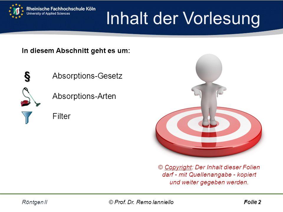 Inhalt der Vorlesung § Absorptions-Gesetz Absorptions-Arten Filter