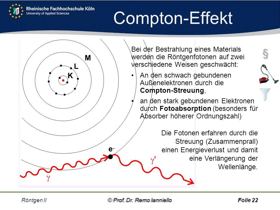 Compton-Effekt Bei der Bestrahlung eines Materials werden die Röntgenfotonen auf zwei verschiedene Weisen geschwächt: