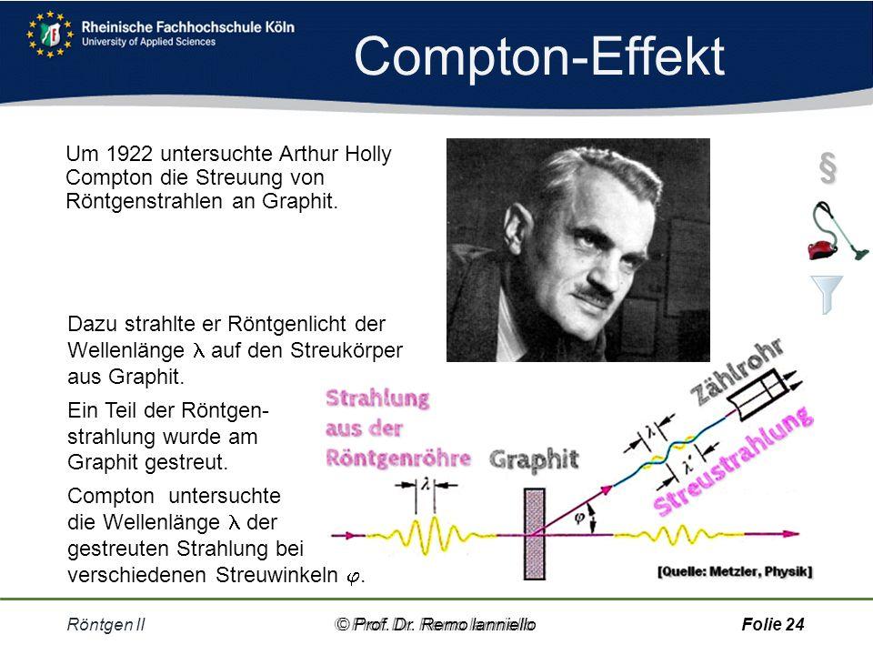 Compton-Effekt Um 1922 untersuchte Arthur Holly Compton die Streuung von Röntgenstrahlen an Graphit.