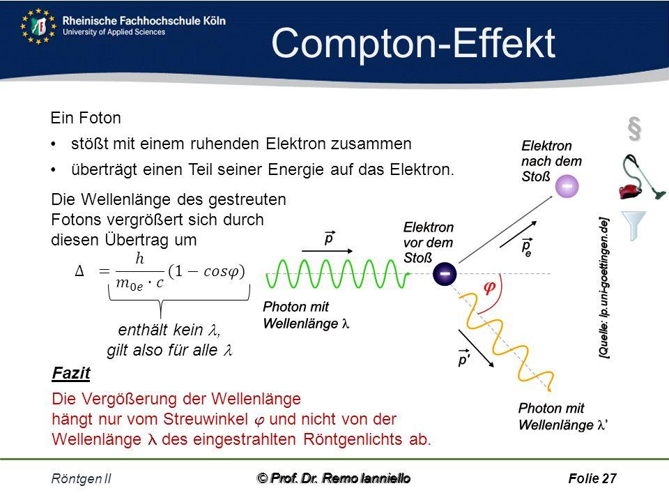 Compton-Effekt § Ein Foton stößt mit einem ruhenden Elektron zusammen