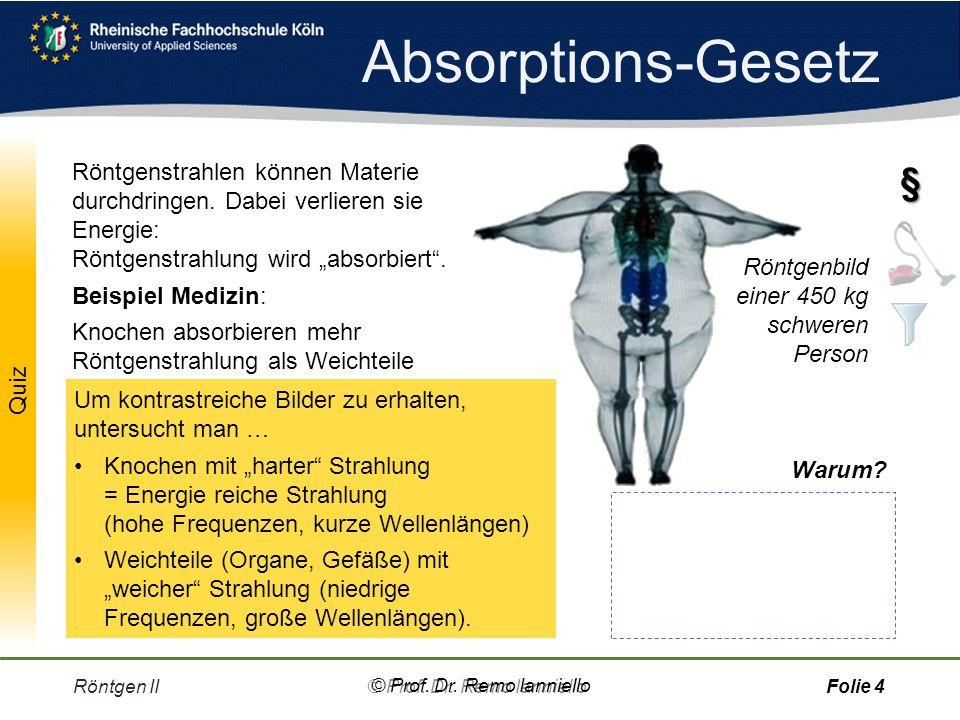 """Absorptions-Gesetz Röntgenstrahlen können Materie durchdringen. Dabei verlieren sie Energie: Röntgenstrahlung wird """"absorbiert ."""