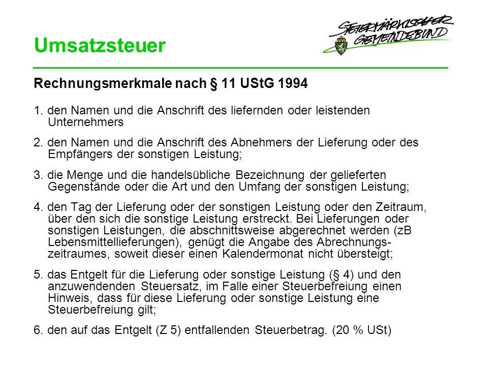 Umsatzsteuer Rechnungsmerkmale nach § 11 UStG 1994