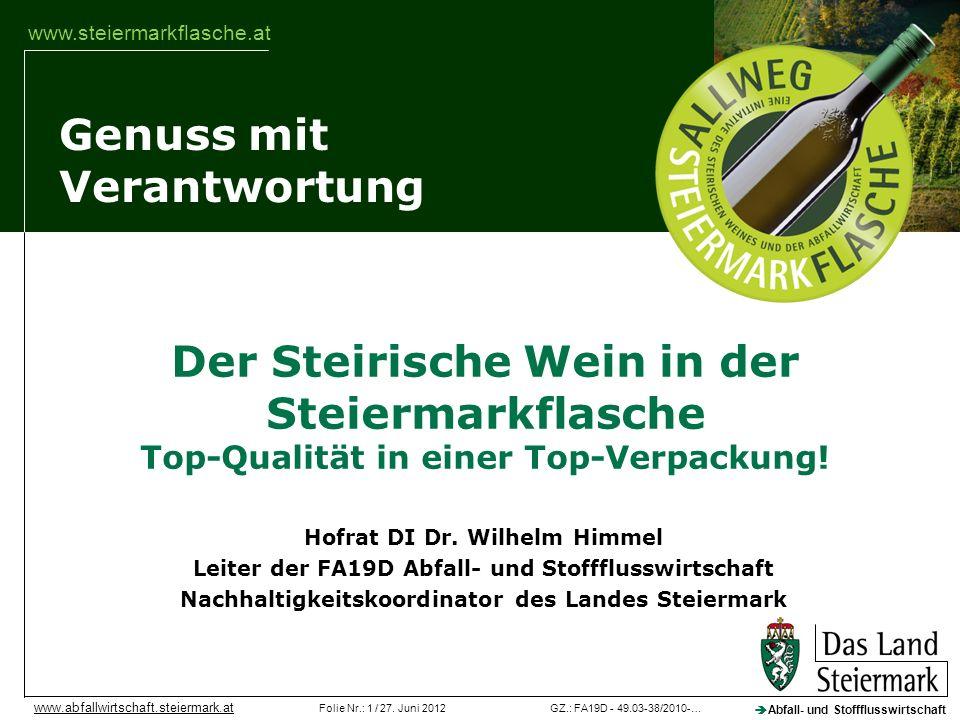 Veranstaltung Der Steirische Wein in der Steiermarkflasche Top-Qualität in einer Top-Verpackung! Hofrat DI Dr. Wilhelm Himmel.
