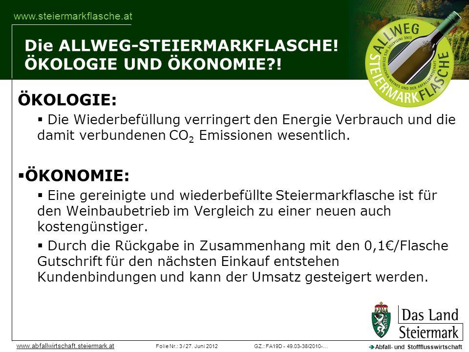 Die ALLWEG-STEIERMARKFLASCHE! ÖKOLOGIE UND ÖKONOMIE !