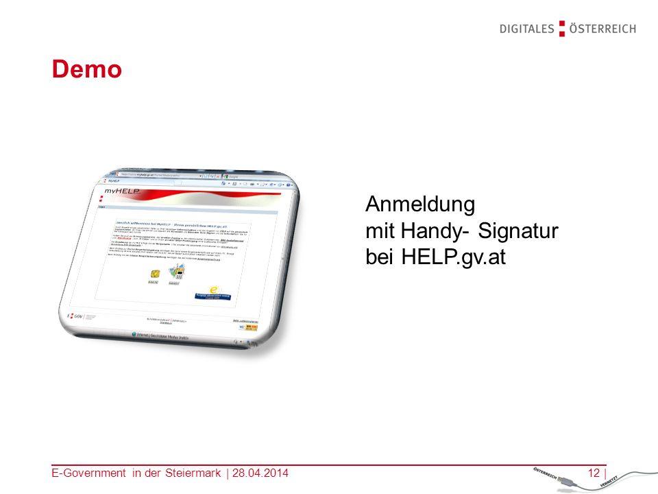 Demo Anmeldung mit Handy- Signatur bei HELP.gv.at