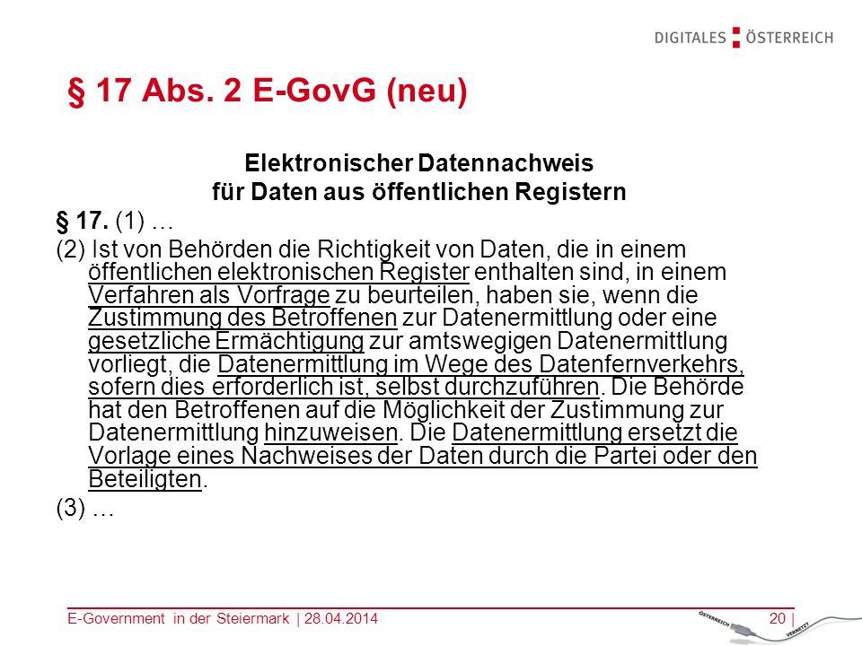 Elektronischer Datennachweis für Daten aus öffentlichen Registern