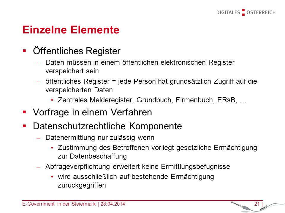 Einzelne Elemente Öffentliches Register Vorfrage in einem Verfahren