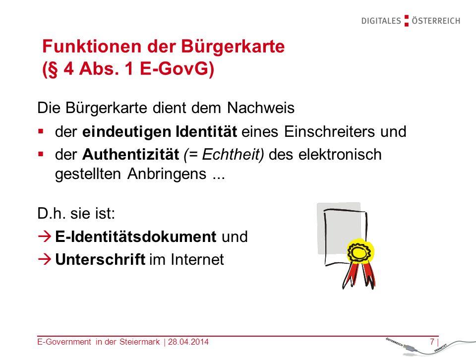 Funktionen der Bürgerkarte (§ 4 Abs. 1 E-GovG)