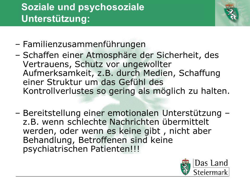 Soziale und psychosoziale Unterstützung: