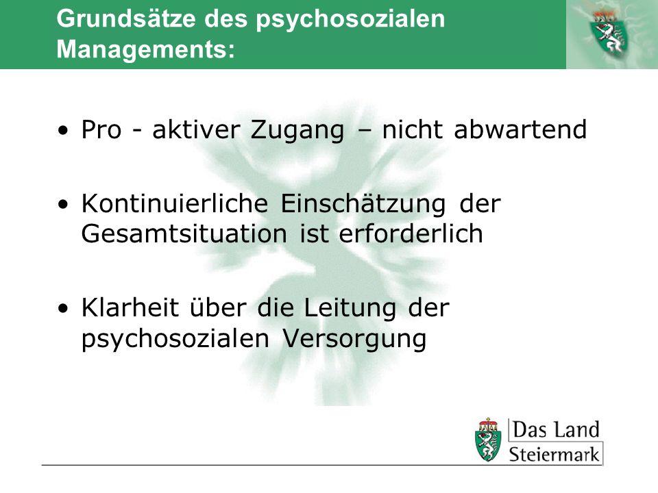 Grundsätze des psychosozialen Managements: