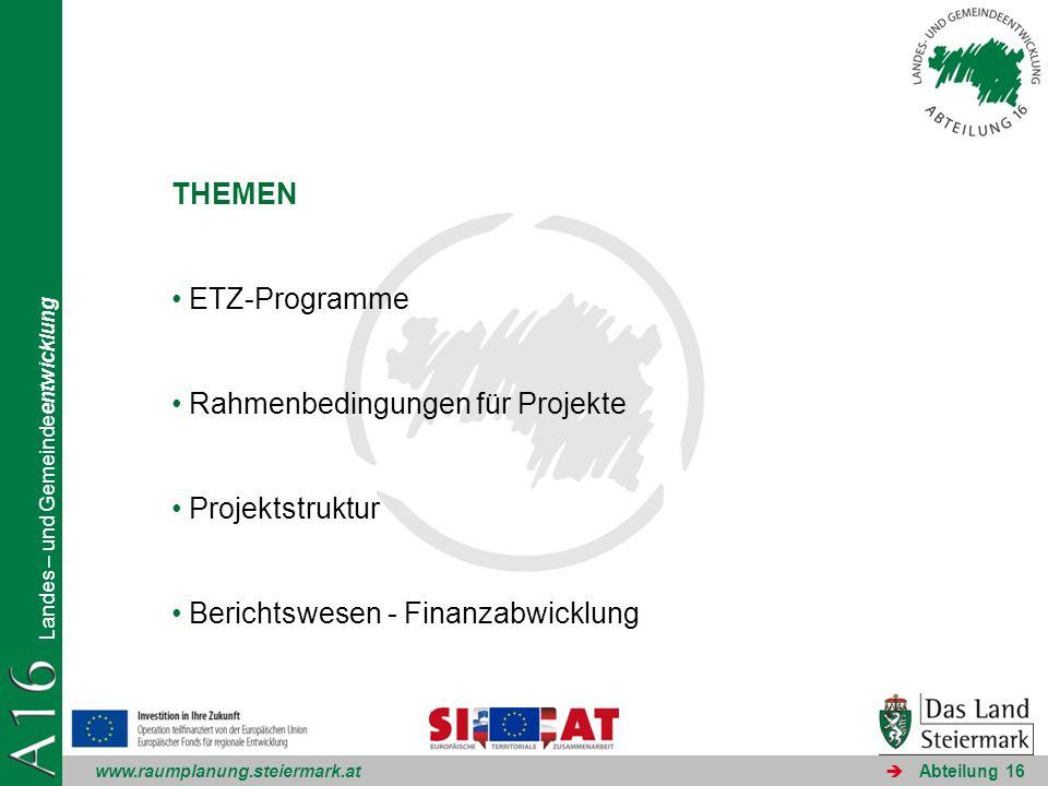THEMEN ETZ-Programme. Rahmenbedingungen für Projekte.