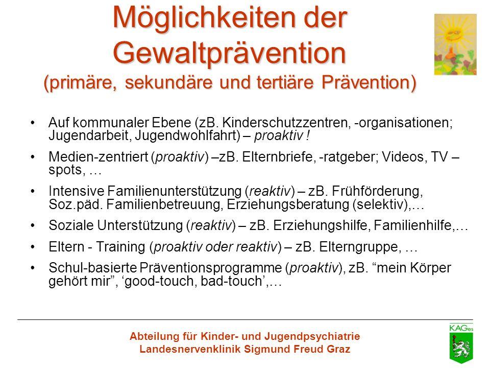 Möglichkeiten der Gewaltprävention (primäre, sekundäre und tertiäre Prävention)