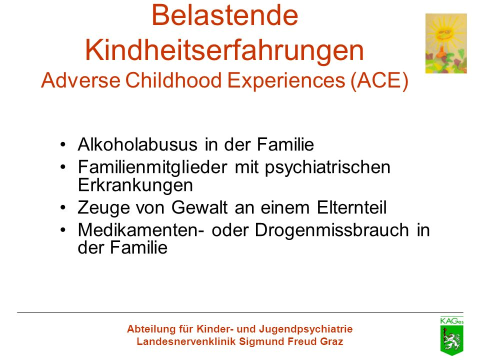 Belastende Kindheitserfahrungen Adverse Childhood Experiences (ACE)