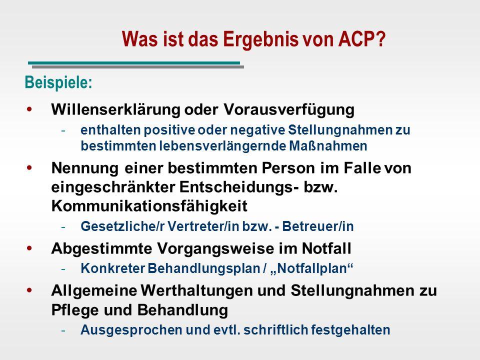 Was ist das Ergebnis von ACP
