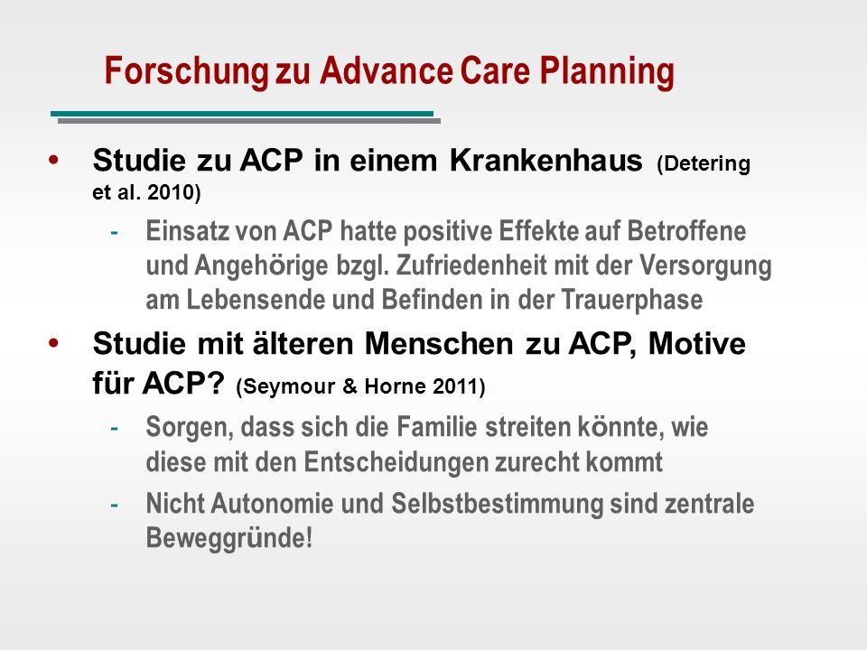 Forschung zu Advance Care Planning