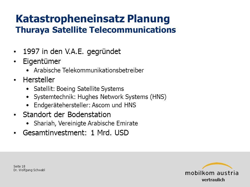 Katastropheneinsatz Planung Thuraya Satellite Telecommunications