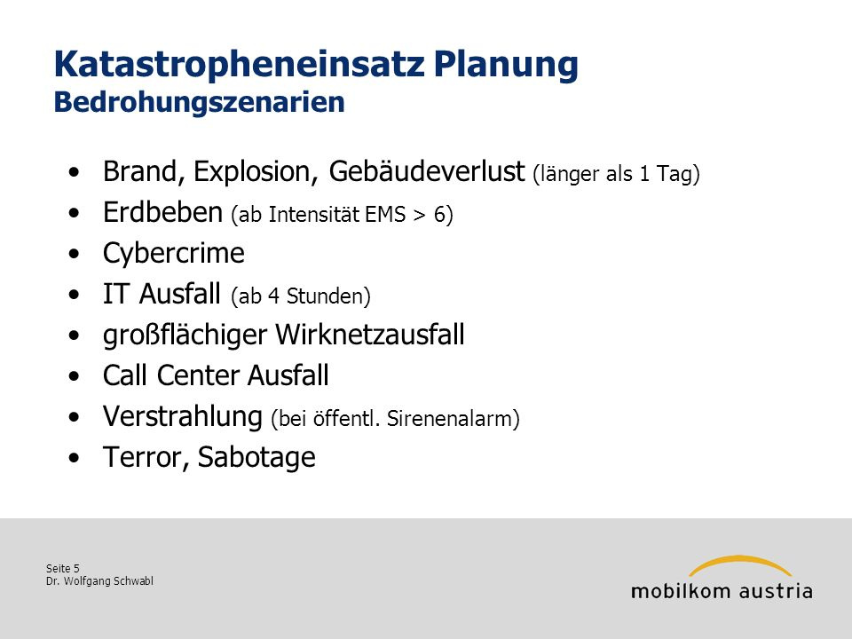 Katastropheneinsatz Planung Bedrohungszenarien