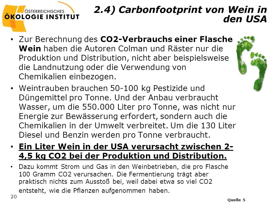 2.4) Carbonfootprint von Wein in den USA