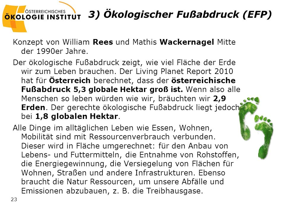 3) Ökologischer Fußabdruck (EFP)