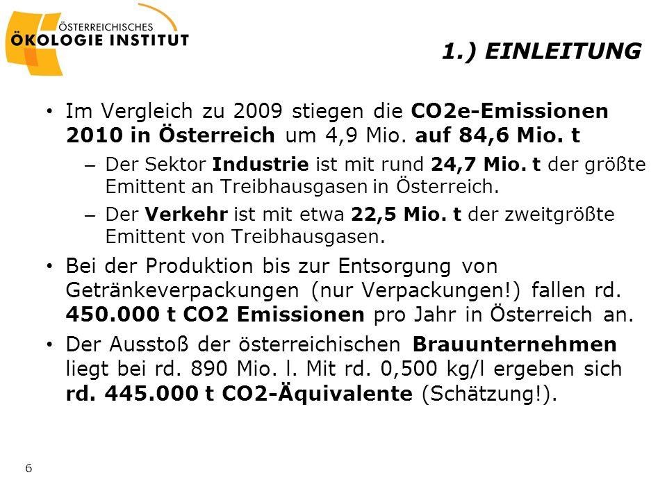 1.) EINLEITUNG Im Vergleich zu 2009 stiegen die CO2e-Emissionen 2010 in Österreich um 4,9 Mio. auf 84,6 Mio. t.