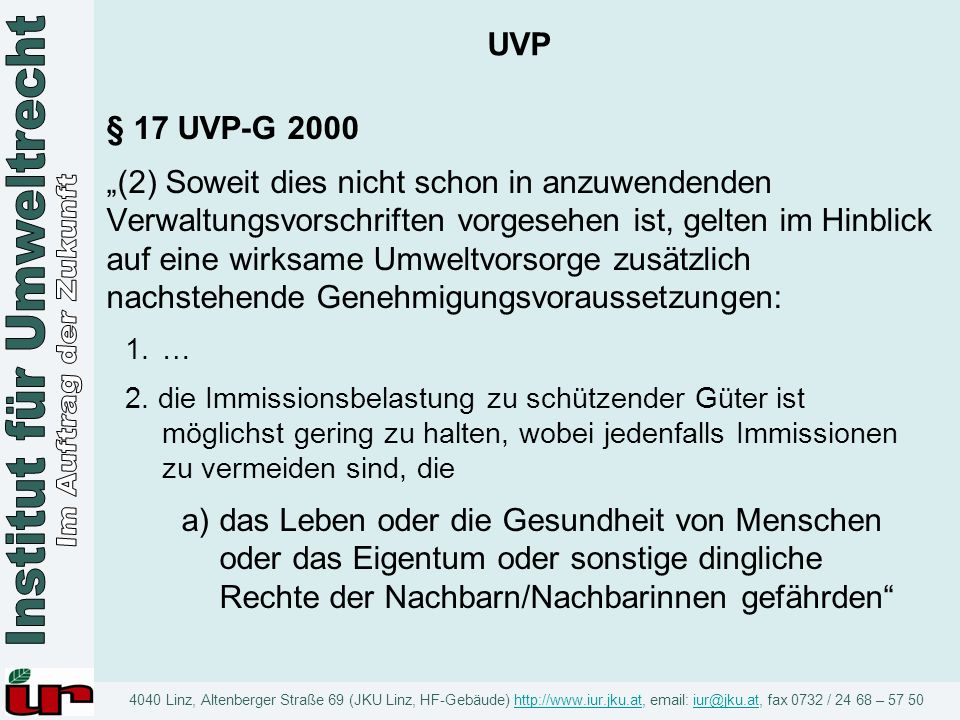UVP § 17 UVP-G 2000.