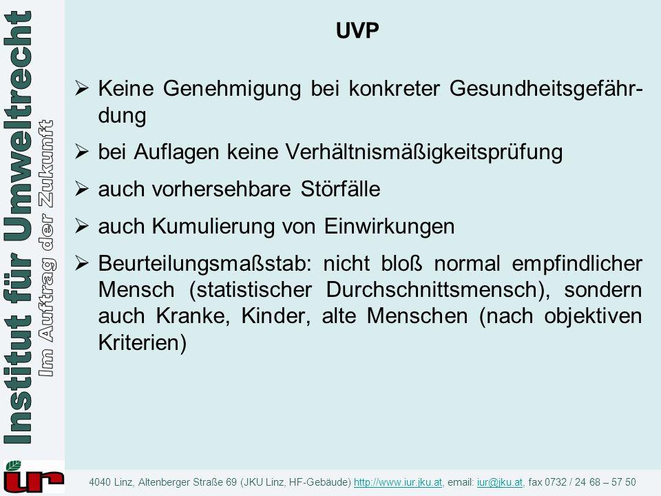 UVP Keine Genehmigung bei konkreter Gesundheitsgefähr-dung. bei Auflagen keine Verhältnismäßigkeitsprüfung.