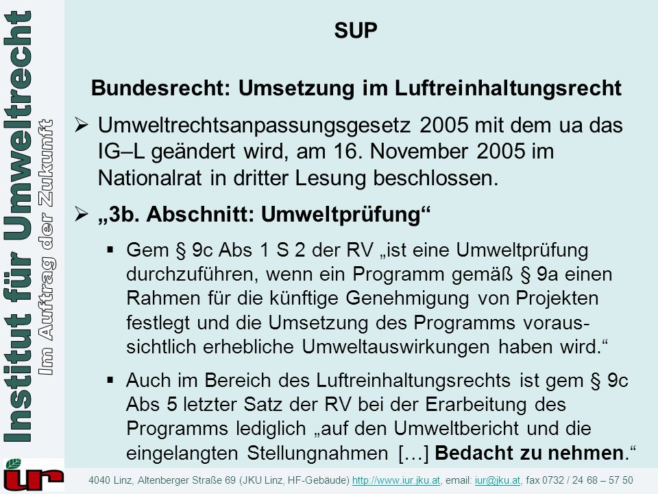 Bundesrecht: Umsetzung im Luftreinhaltungsrecht