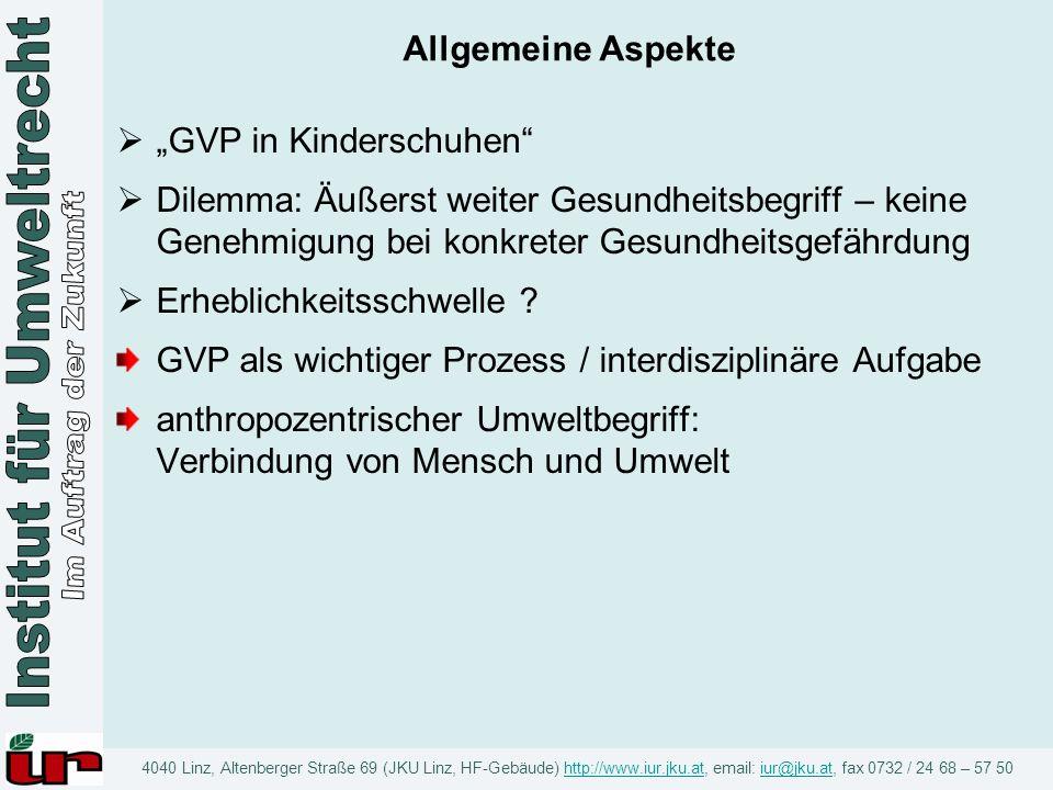 """Allgemeine Aspekte """"GVP in Kinderschuhen Dilemma: Äußerst weiter Gesundheitsbegriff – keine Genehmigung bei konkreter Gesundheitsgefährdung."""