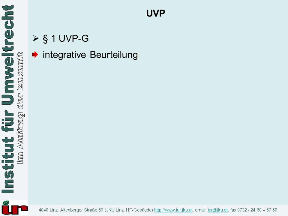 UVP § 1 UVP-G integrative Beurteilung