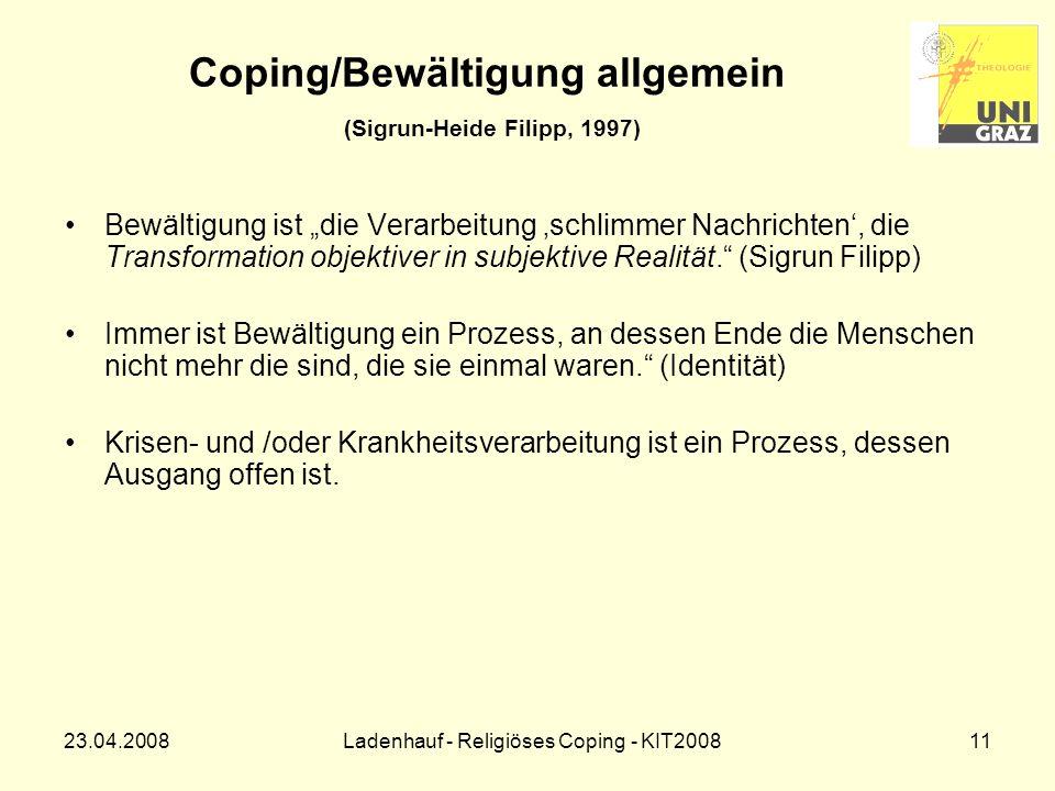 Coping/Bewältigung allgemein (Sigrun-Heide Filipp, 1997)