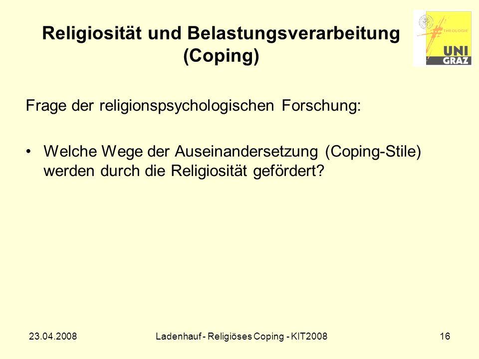 Religiosität und Belastungsverarbeitung (Coping)