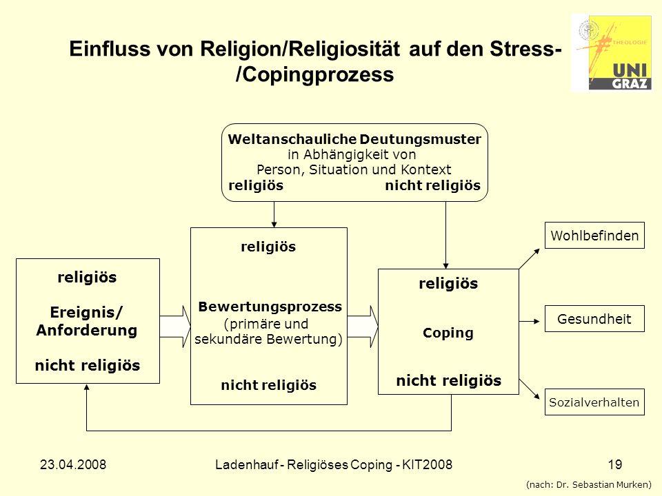 Einfluss von Religion/Religiosität auf den Stress-/Copingprozess