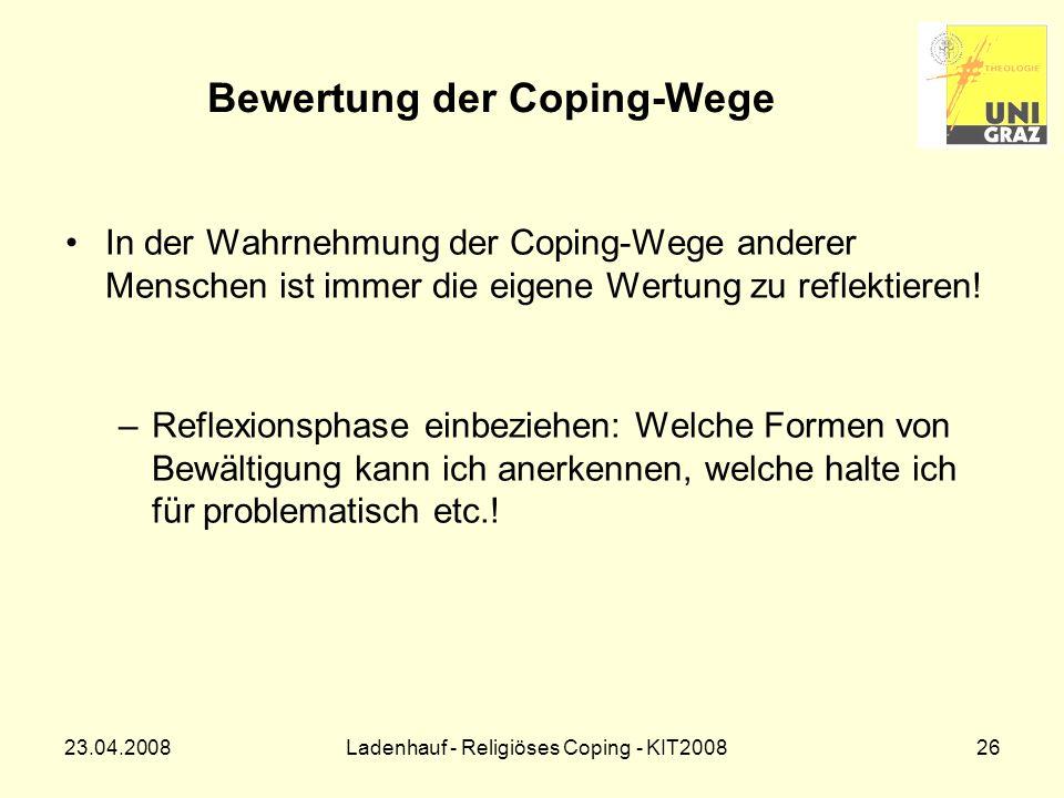Bewertung der Coping-Wege