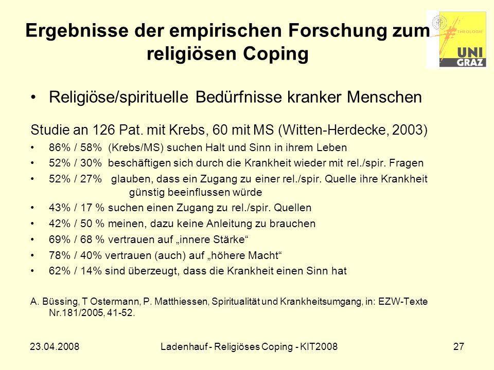 Ergebnisse der empirischen Forschung zum religiösen Coping
