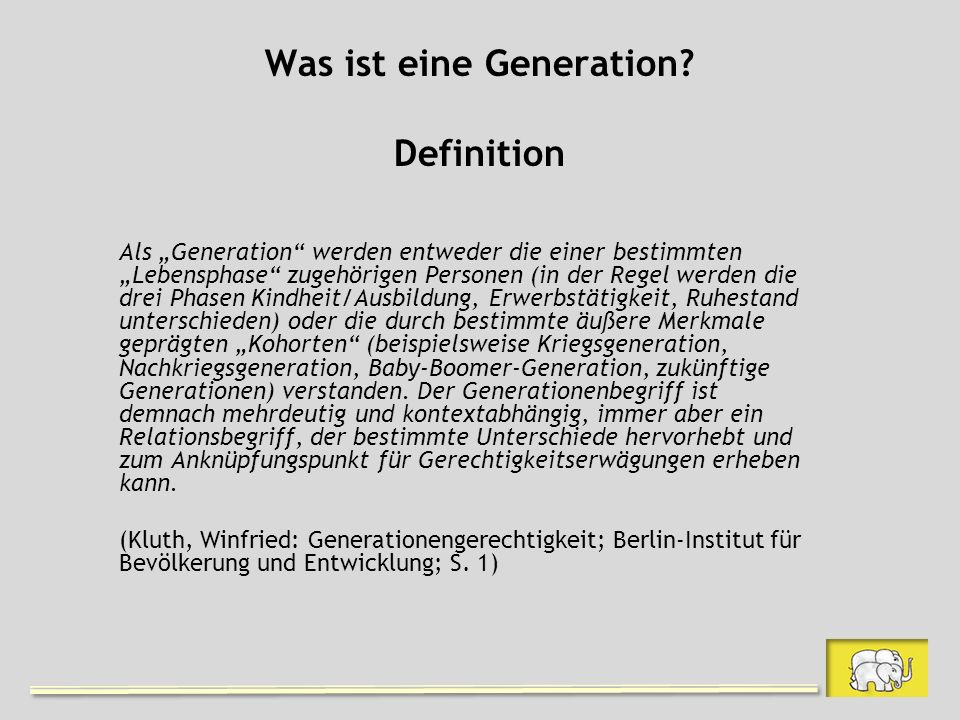Was ist eine Generation Definition