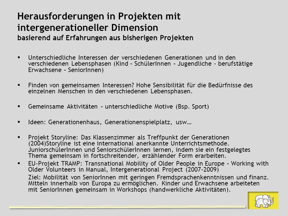 Herausforderungen in Projekten mit intergenerationeller Dimension basierend auf Erfahrungen aus bisherigen Projekten