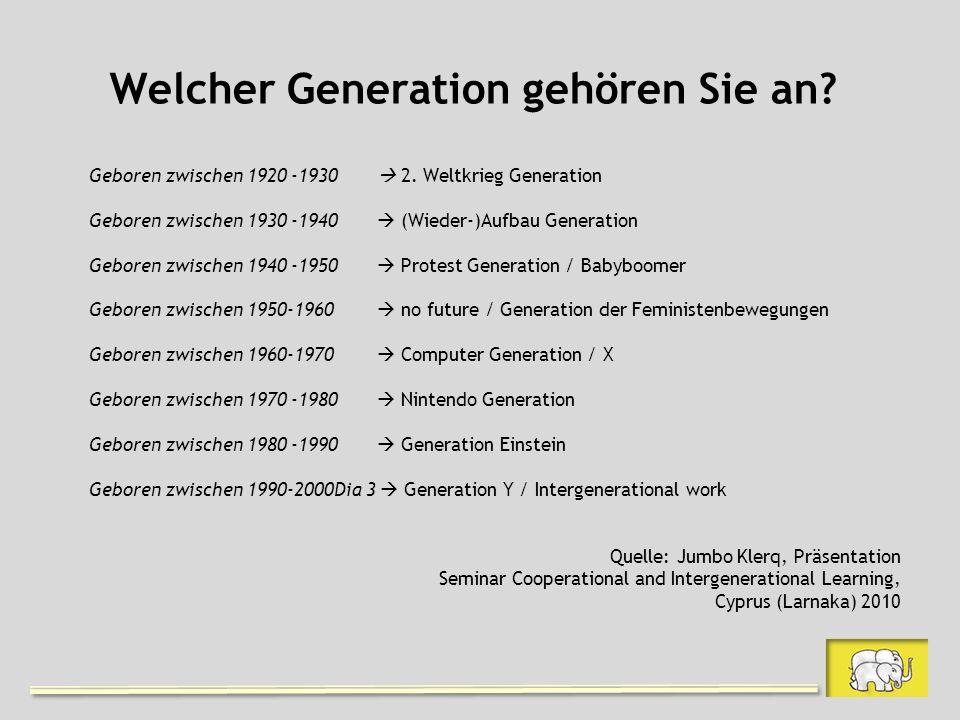 Welcher Generation gehören Sie an