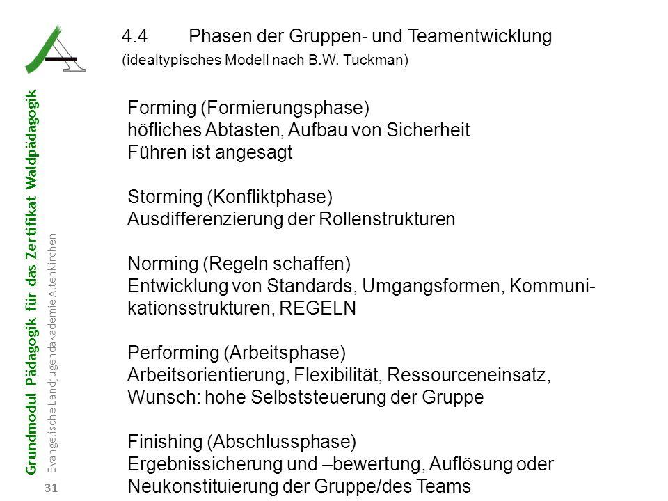 4.4 Phasen der Gruppen- und Teamentwicklung