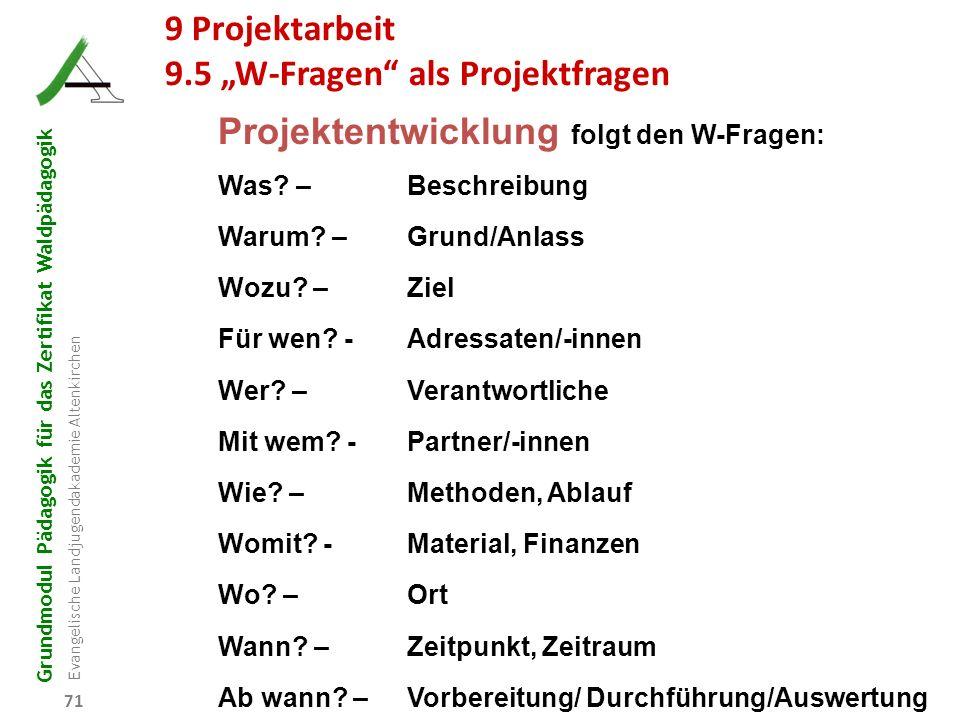 """9.5 """"W-Fragen als Projektfragen"""