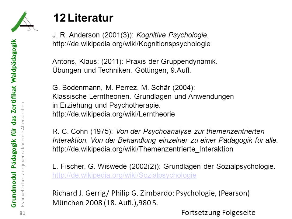 12 Literatur J. R. Anderson (2001(3)): Kognitive Psychologie. http://de.wikipedia.org/wiki/Kognitionspsychologie.