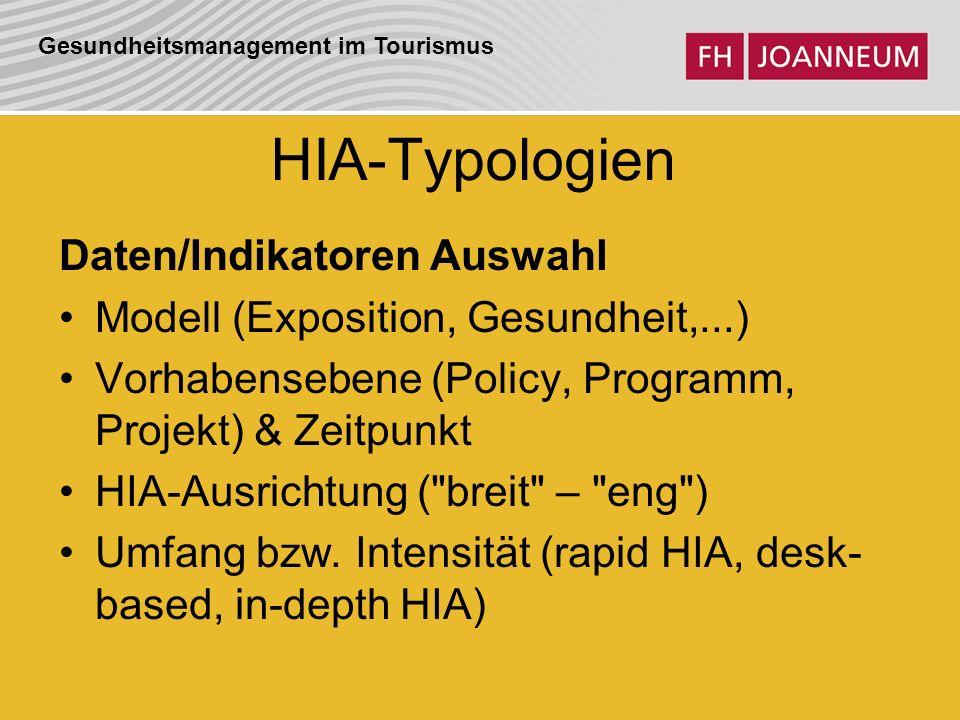 HIA-Typologien Daten/Indikatoren Auswahl