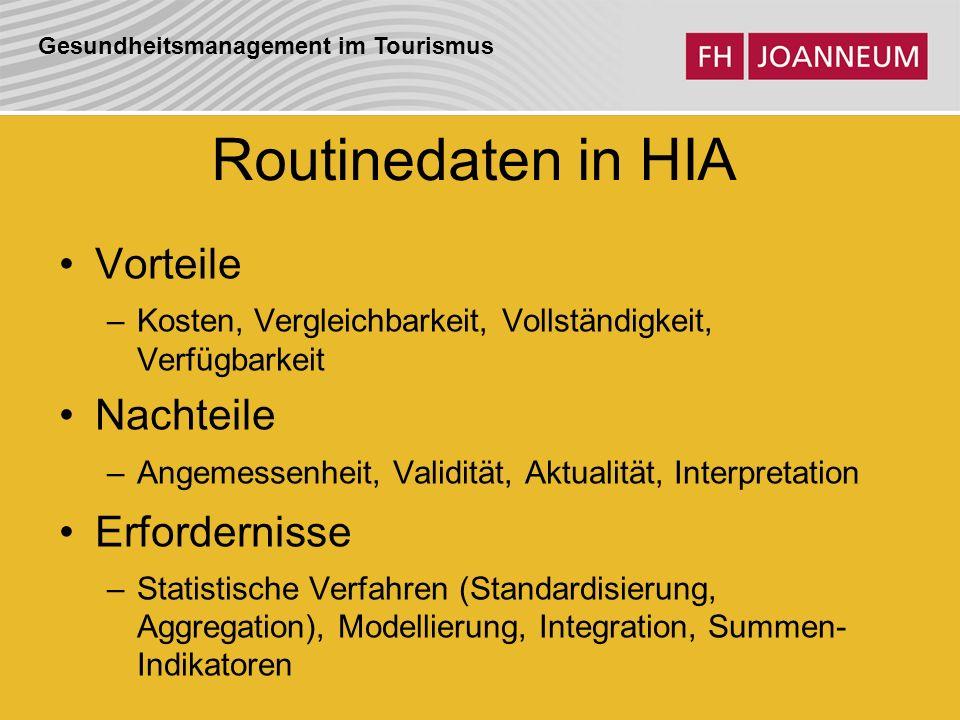 Routinedaten in HIA Vorteile Nachteile Erfordernisse