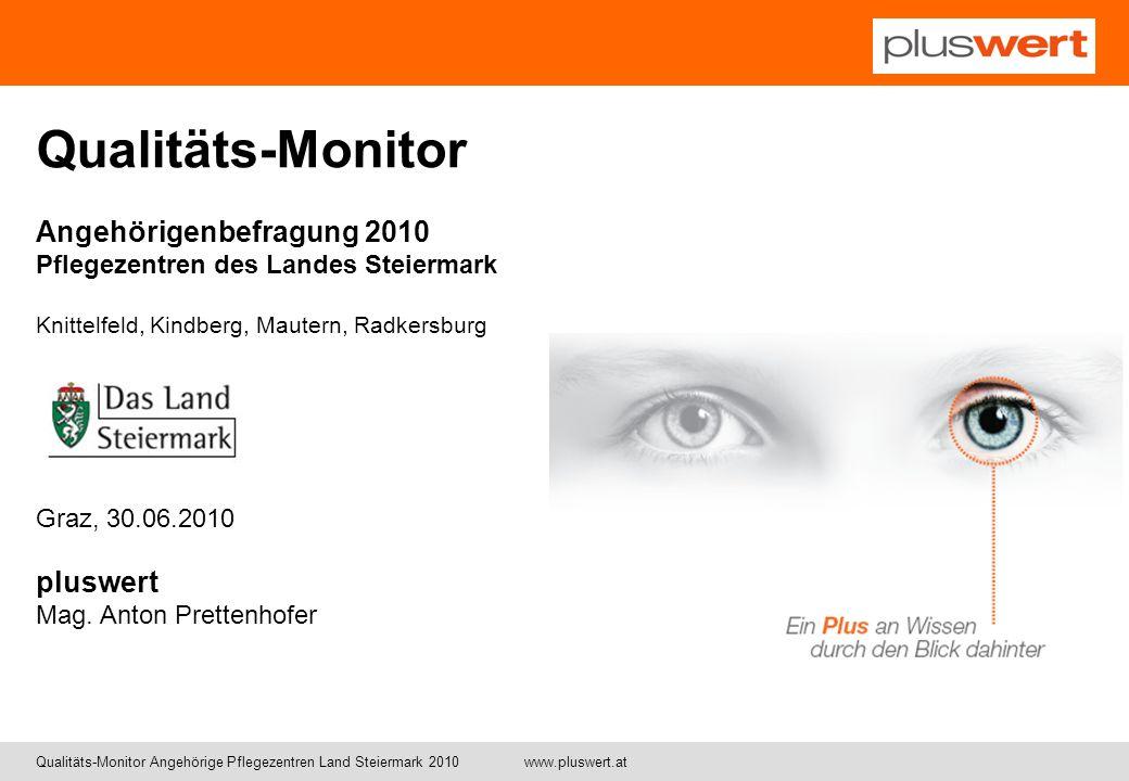 Qualitäts-Monitor Angehörigenbefragung 2010 Pflegezentren des Landes Steiermark. Knittelfeld, Kindberg, Mautern, Radkersburg.
