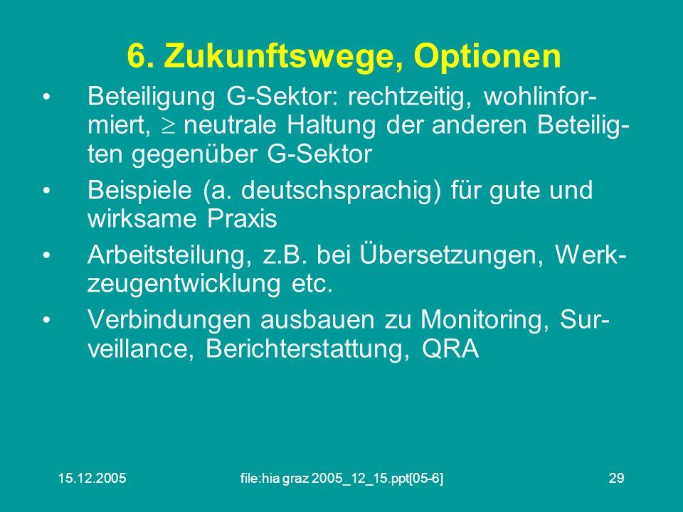 6. Zukunftswege, Optionen