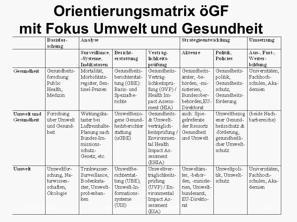Orientierungsmatrix öGF mit Fokus Umwelt und Gesundheit